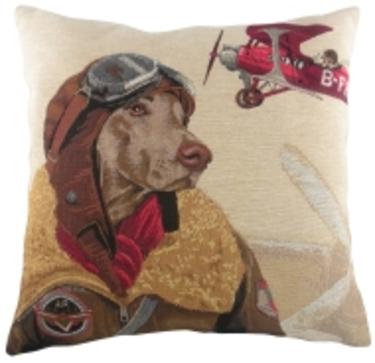 Evans Lichfield Belgian Tapestry Weimaraner Dog Fighters Cushion 1 - £19.00