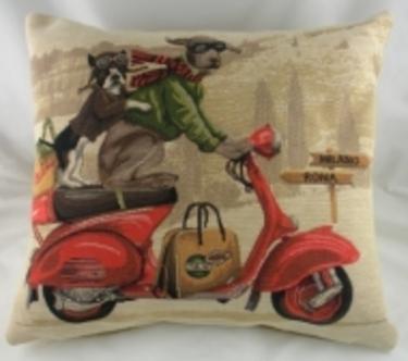 Evans Lichfield Weimaraner SCOOTER DOGS Belgian Tapestry Cushion 1 - £19.00