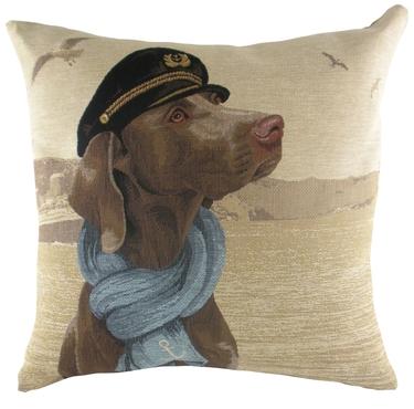 SEA DOGS ADMIRAL Weimaraner Dog Belgian Tapestry Cushion Evans Lichfield 1 - £19.00