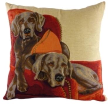Lounging WEIMARANERS Dog Belgian Tapestry Cushion Evans Lichfield  3 - £19.00