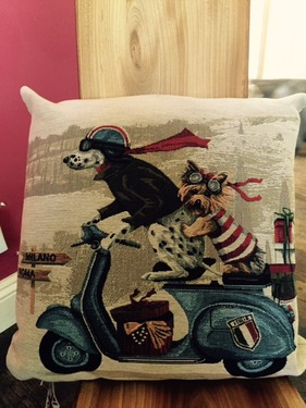 Evans Lichfield SCOOTER DOGS Belgian Tapestry Cushion   1 - £20.00