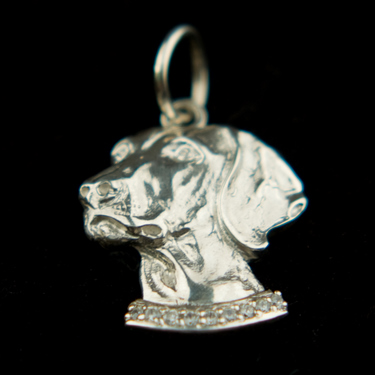 Sterling Silver Wemaraner Head Pendant with Cubic Zirconia Collar 5 - £55.99