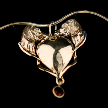 Heart Weimaraner Heads Pendant - Sterling Silver  (Please allow 28 days) 9 - £52.00