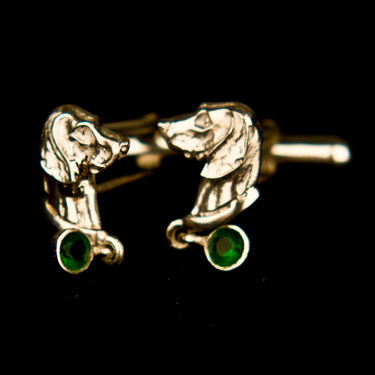 Weimaraner Cufflinks with stone set dropper  (Please allow 28 days) 7 - £244.95