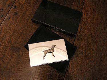 Silver Weimaraner Business Card Holder 3 - £20.95