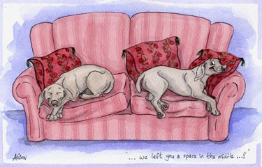 Weimaraner - We left you a space in the middle Greetings card 7 - £1.75
