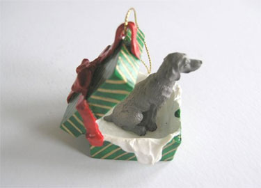 Weimaraner Gift Box - Green & Gold with Red Bow 2 - £7.50